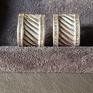 David Yurman Cigar Band Diamond Earrings